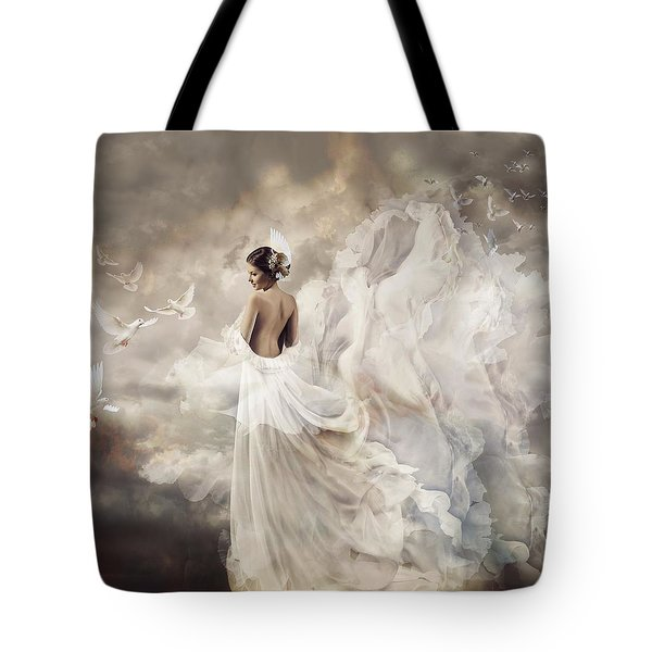 Nymph Of The Sky Tote Bag by Lilia D
