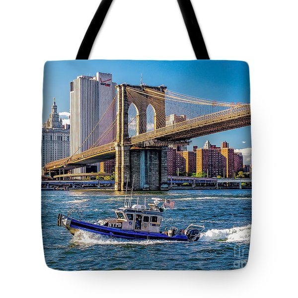 Nypd On East River Tote Bag