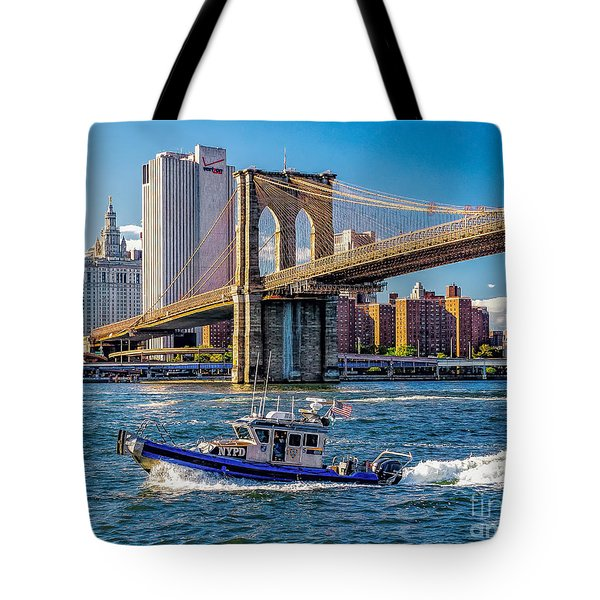 Nypd On East River Tote Bag by Nick Zelinsky