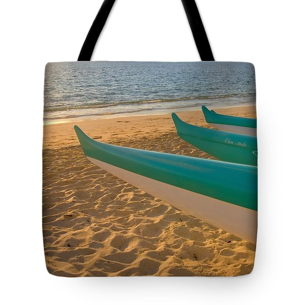 Oahu, Outrigger Canoes Tote Bag by Tomas del Amo - Printscapes