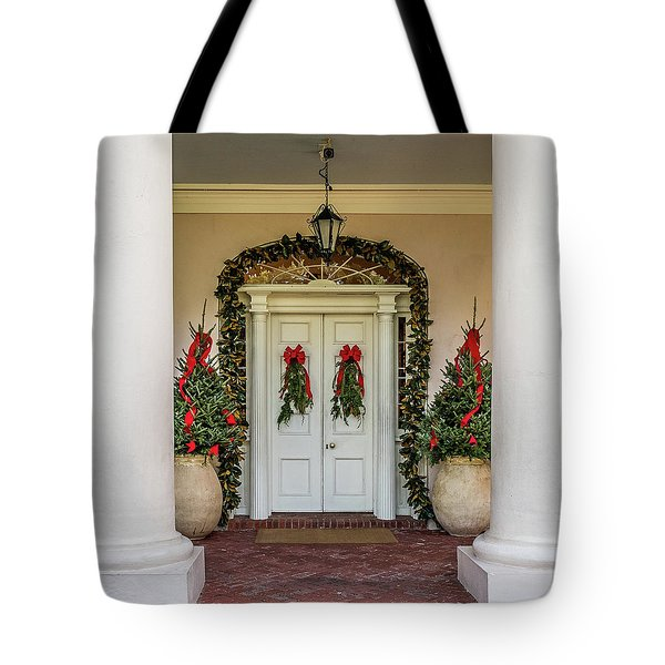 Tote Bag featuring the photograph Oak Alley Plantation Doors by Paul Freidlund
