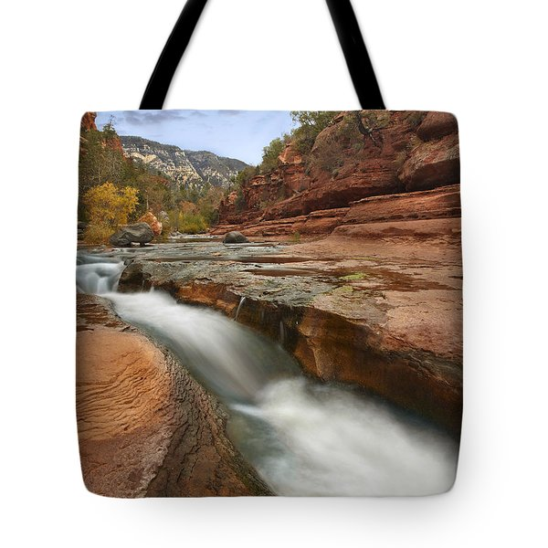 Oak Creek In Slide Rock State Park Tote Bag by Tim Fitzharris
