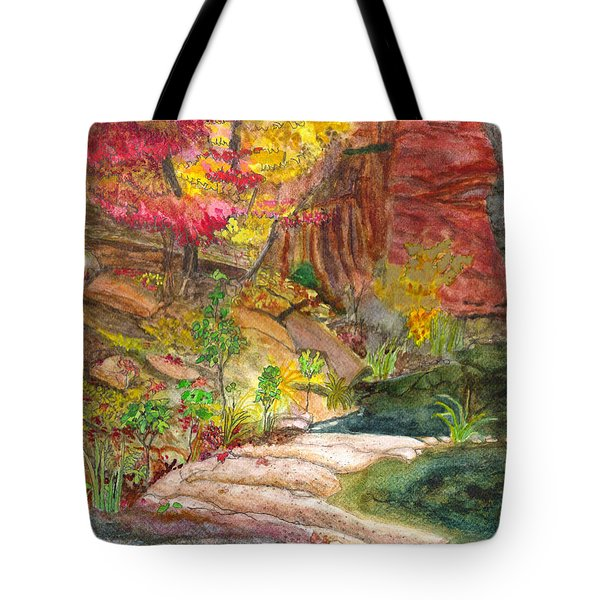 Tote Bag featuring the painting Oak Creek West Fork by Eric Samuelson