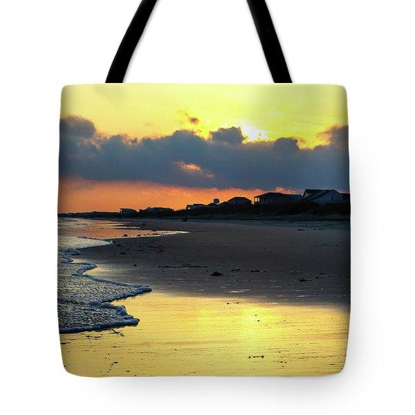 Oak Island Yellow Sunset Tote Bag