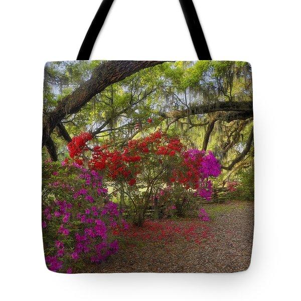 Tote Bag featuring the photograph Oak Tree Azaleas by Ken Barrett