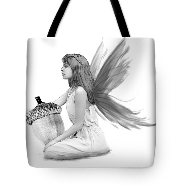 Oak Tree Fairy With Acorn B And W Tote Bag