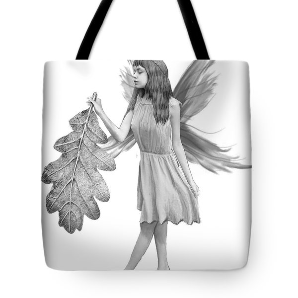 Oak Tree Fairy With Leaf B And W Tote Bag