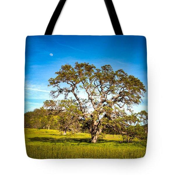 Oak Tree Green Meadow Moon Rising Tote Bag