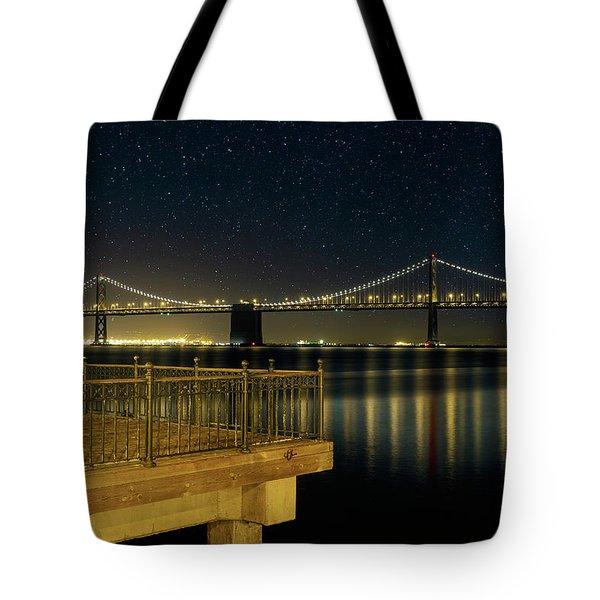 Oakland Bay Bridge By The Pier In San Francisco At Night Tote Bag
