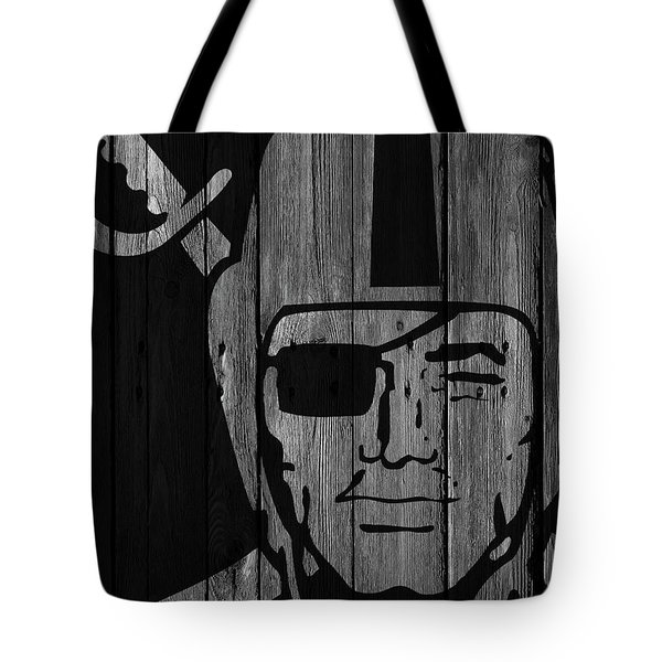 Oakland Raiders Wood Fence Tote Bag