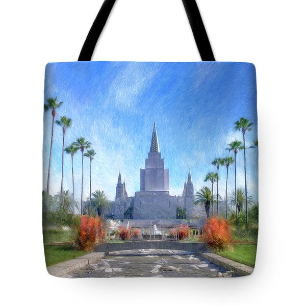 Tote Bag featuring the painting Oakland Temple No. 1 by Geoffrey C Lewis