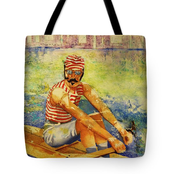 Tote Bag featuring the painting Oarsman by Cynthia Powell