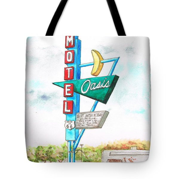 Oasis Motel In Route 66, Tulsa, Texas Tote Bag
