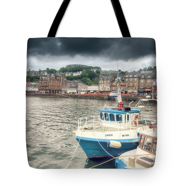 Oban Harbour Under A Dark Sky Tote Bag