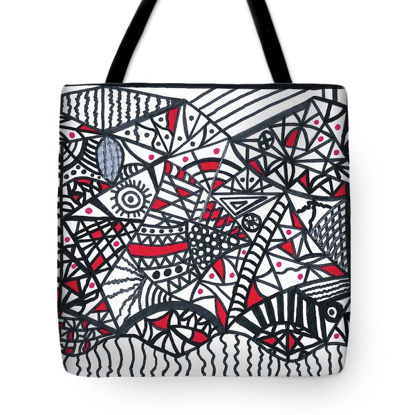 Objective Contrast With Red And Silver Tote Bag