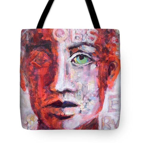 Tote Bag featuring the painting Observe by Mary Schiros