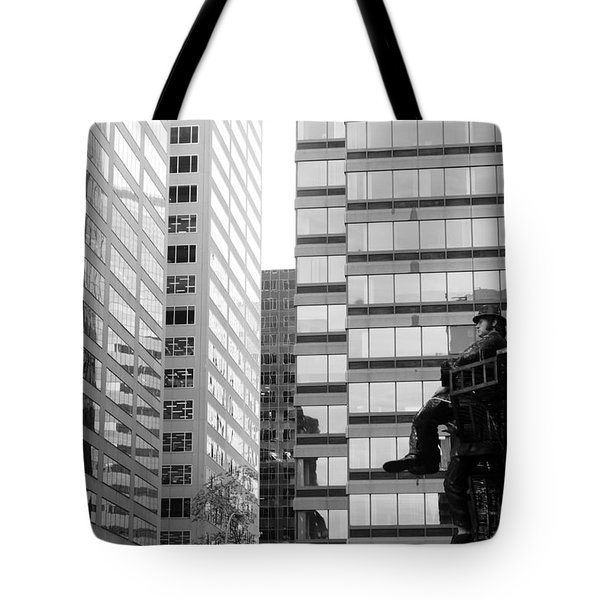 Tote Bag featuring the photograph Observing The City by Valentino Visentini