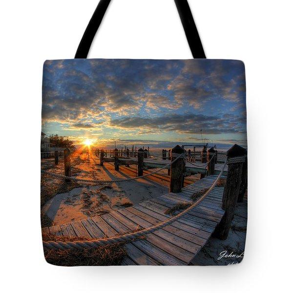 Oc Bay Sunset Tote Bag by John Loreaux