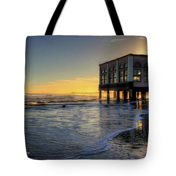 Oc Music Pier Sunset Tote Bag by John Loreaux