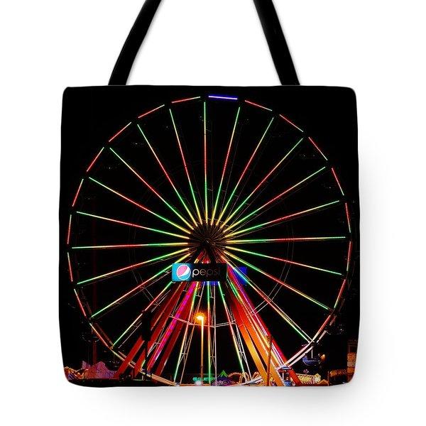 Oc Pier Ferris Wheel At Night Tote Bag