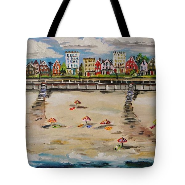 Tote Bag featuring the painting Ocean Ave By John Williams by John Williams