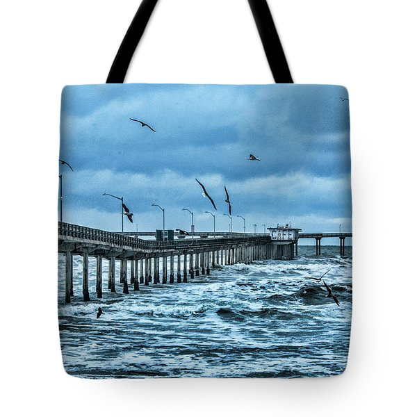 Ocean Beach Fishing Pier Tote Bag by Daniel Hebard