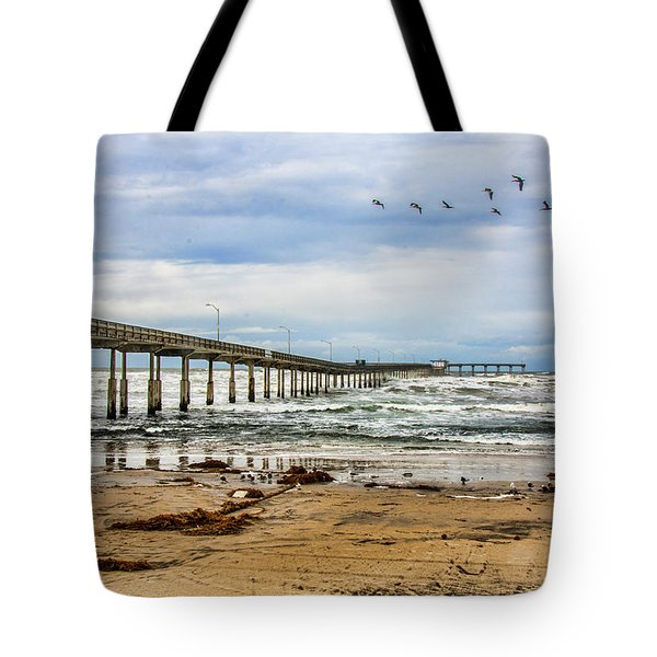 Ocean Beach Pier Fishing Airforce Tote Bag by Daniel Hebard