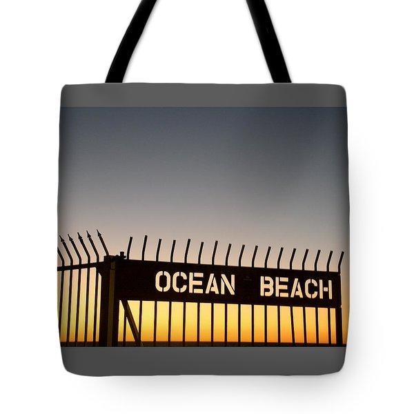 Ocean Beach Pier Gate Tote Bag