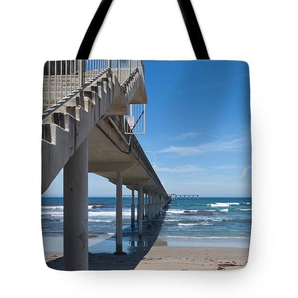 Ocean Beach Pier Stairs Tote Bag by Ana V Ramirez