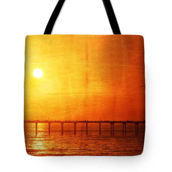 Ocean Beach Pier Sunset Tote Bag