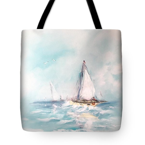 Tote Bag featuring the painting Ocean Blues by Miroslaw  Chelchowski