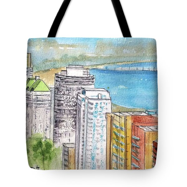 Tote Bag featuring the painting Ocean Blvd Aerial View by Debbie Lewis