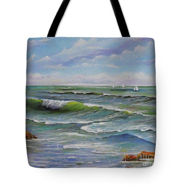 Tote Bag featuring the painting Ocean Breeze by Mary Scott