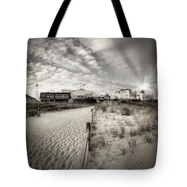 Ocean City Bw Tote Bag by John Loreaux