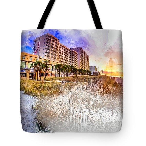 Ocean Drive Sunrise Watercolor Tote Bag