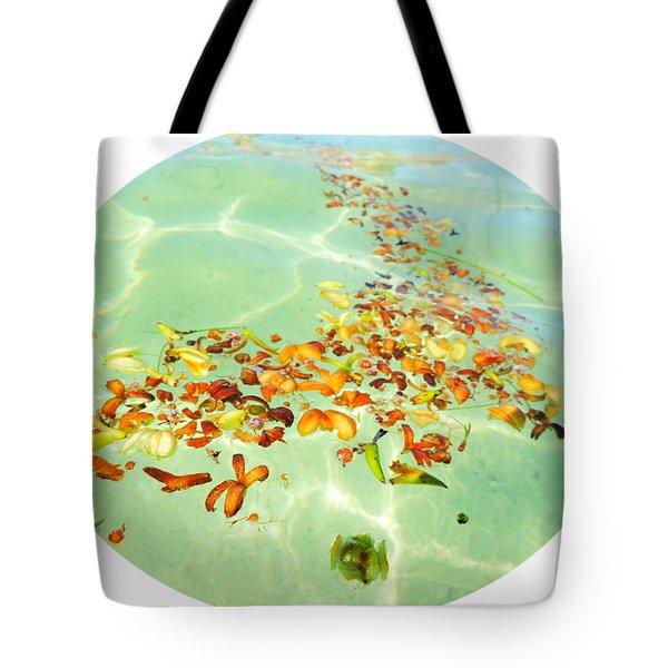 Ocean Flowers Oval Tote Bag by Linda Hollis