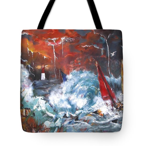 Tote Bag featuring the painting Ocean Fury by Miroslaw  Chelchowski