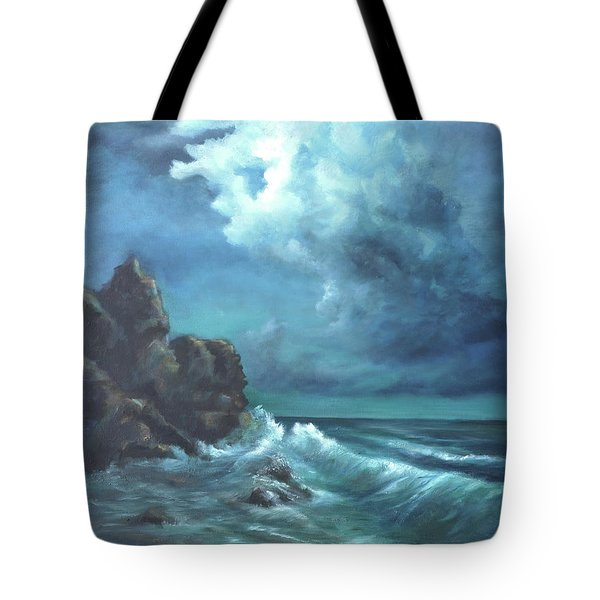 Seascape And Moonlight An Ocean Scene Tote Bag