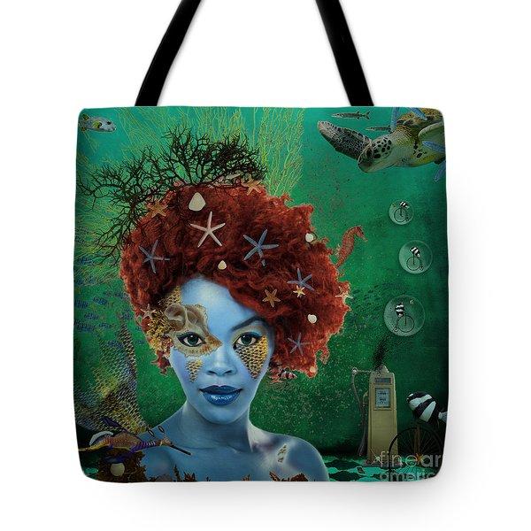 Tote Bag featuring the digital art Ocean by Nola Lee Kelsey