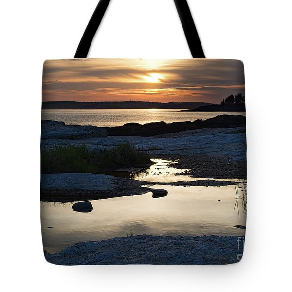 Ocean Point Sunset In East Boothbay Maine  -23091-23093 Tote Bag