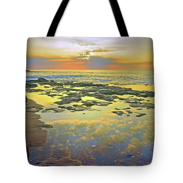 Tote Bag featuring the photograph Ocean Puddles At Sunset On Molokai by Tara Turner