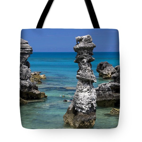 Ocean Rock Formations Tote Bag by Sally Weigand