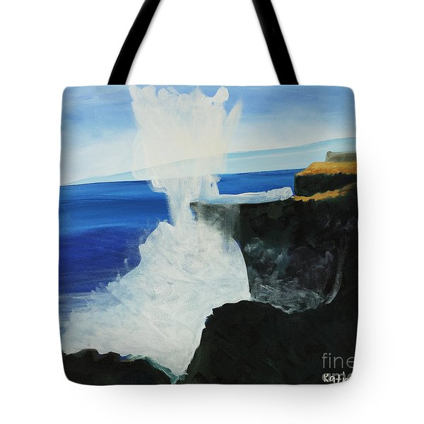 Ocean Spray At Blowhole Tote Bag by Katie OBrien - Printscapes