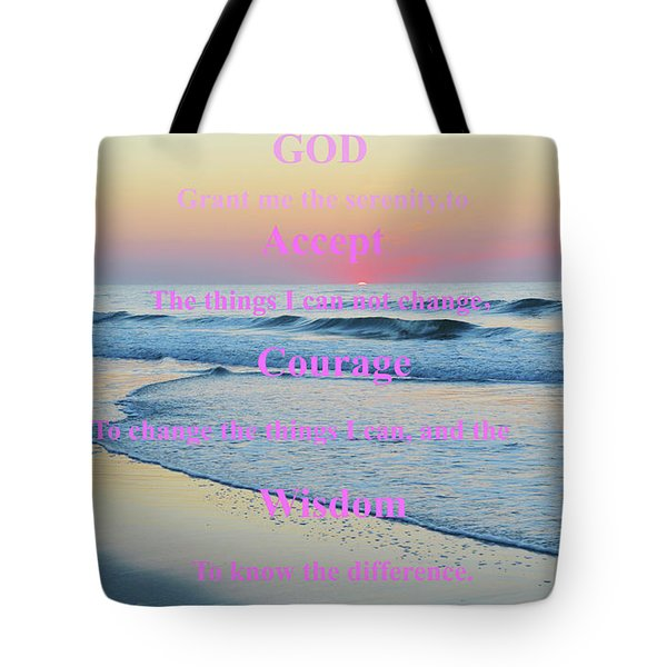 Ocean Sunrise Serenity Prayer Tote Bag