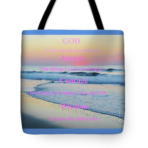 Ocean Sunrise Serenity Prayer Tote Bag