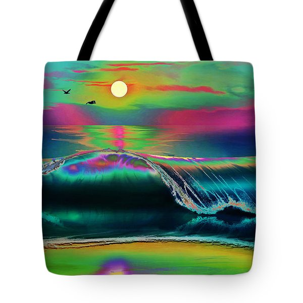 Ocean Sunset Abstract Tote Bag