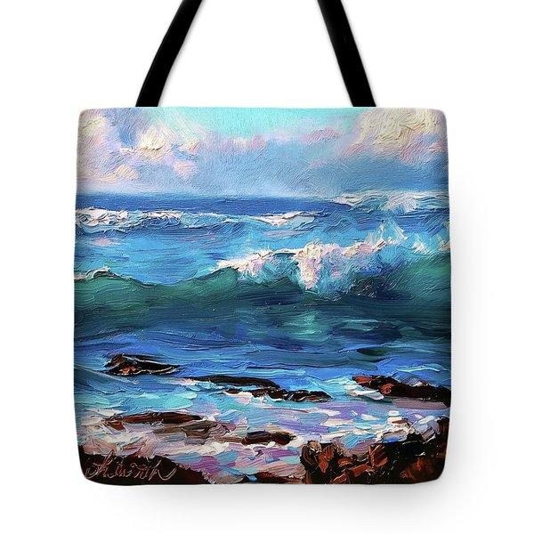 Coastal Ocean Sunset At Turtle Bay, Oahu Hawaii Beach Seascape Tote Bag