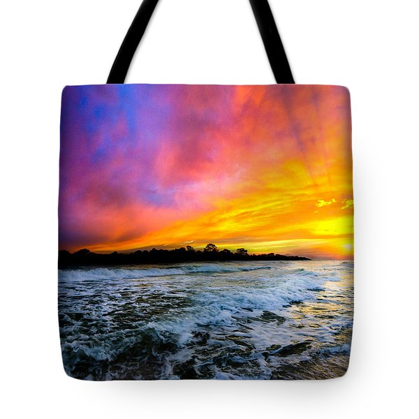 Ocean Sunset Landscape Photography Red Blue Sunset Tote Bag