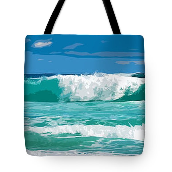 Ocean Surf Illustration Tote Bag by Phill Petrovic