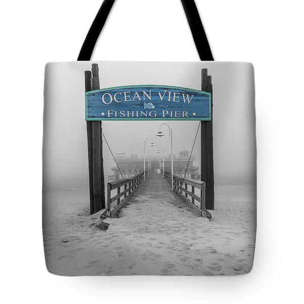 Ocean View Pier Partial Color Tote Bag